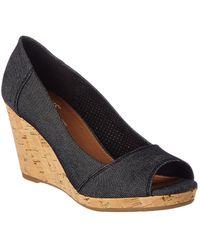 TOMS Women's Stella Open-toe Wedge Sandal - Black