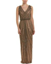 ee2d7c49b9e5 Adrianna Papell Pleated Strapless Tulle Gown in Natural - Lyst