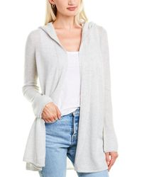 Forte Open Front Cashmere Hoodie - Grey