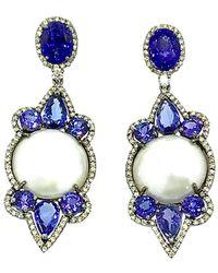 Arthur Marder Fine Jewelry 14k & Silver 3.85 Ct. Tw. Diamond, Tanzanite, & 18mm Pearl Earrings - Blue