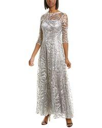 Tahari Sequin Gown - Gray