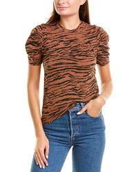 Pam & Gela Tiger Puff Sleeve T-shirt - Brown