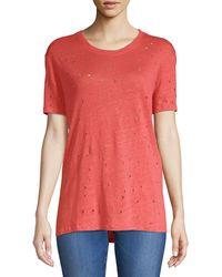 IRO Clay Distressed Linen T-shirt - Pink