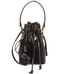Fendi Mon Tresor Mini Monogram Patent Bucket Bag - Black