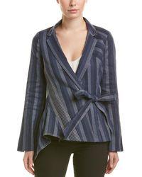 Carolina Herrera Silk-lined Linen-blend Blazer - Blue