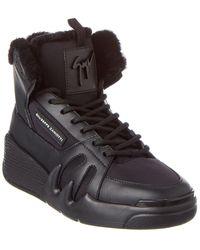 Giuseppe Zanotti Leather-trim Trainer - Black