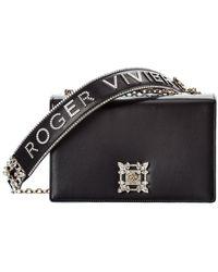 Roger Vivier Miss Vivier Strauss Buckle Leather Shoulder Bag - Black
