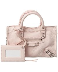 Balenciaga Metallic City Nano Leather Crossbody - Pink