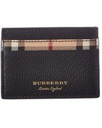 Burberry Haymarket Check Leather Card Case - Black