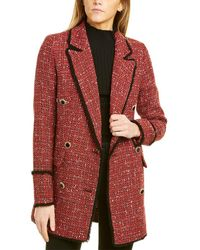 Avec Les Filles Elongated Tweed Wool-blend Blazer - Red