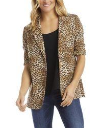 Karen Kane Ruched Sleeve Jacket - Brown