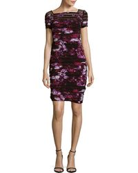 Adrianna Papell - Floral Yoke Banded Dress - Lyst