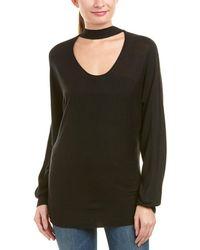 Splendid Choker Neck Pullover - Black