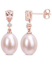 Rina Limor 10k Rose Gold 0.84 Ct. Tw. Diamond & Morganite 9-9.5mm Pearl Earrings - Pink