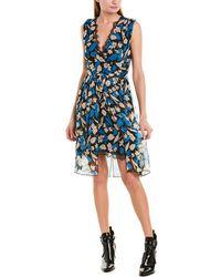 Anna Sui Cherry Picnic Silk A-line Dress - Blue