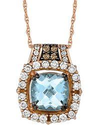 Le Vian ? 14k Rose Gold 1.66 Ct. Tw. Diamond & Aquamarine Necklace - Multicolour