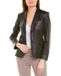 Theory Shrunken Leather Blazer - Black