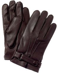 Bruno Magli Two-tone Cashmere-lined Leather & Suede Gloves - Brown