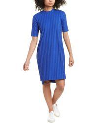 Eileen Fisher Petite Wide Stretch Rib Mock Shift Dress - Blue