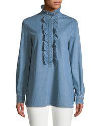 Stella McCartney Ruffle Denim Shirt - Blue