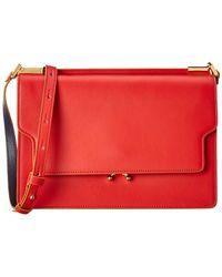 Marni Trunk Leather Shoulder Bag - Red