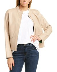Cole Haan Flap Leather Jacket - Natural
