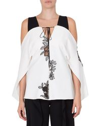 Roland Mouret Marcus Printed Cold Shoulder Top - White