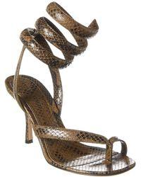 Bottega Veneta Bv Spiral Ankle Strap Snake-embossed Leather Sandal - Green