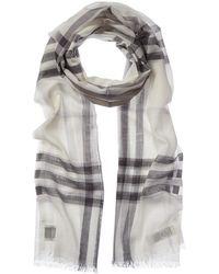 Burberry Check Wool & Silk-blend Scarf - Grey
