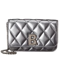 Balenciaga B Quilted Metallic Leather Wallet On Chain