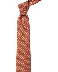 Ferragamo Orange Cat Print Silk Tie
