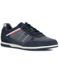 Geox Renan Leather-trim Sneaker - Blue