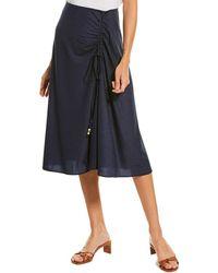 Solid & Striped Drawstring Midi Skirt - Blue