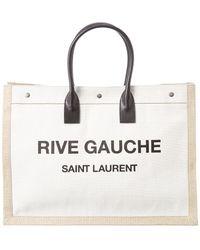 Saint Laurent Rive Gauche Leather & Canvas Tote - Natural