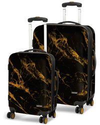 Geoffrey Beene Deep Marble 2pc Luggage Set - Black