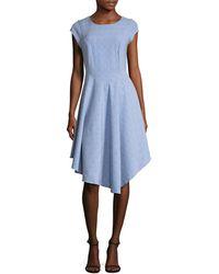 Ava & Aiden Cap Sleeve Asymmetric Dress - Blue