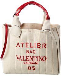 Valentino Garavani 05 Plisse Edition Atelier Small Canvas & Leather Tote - Multicolour