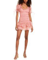 LoveShackFancy Violet Silk Mini Dress - Pink