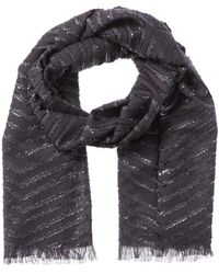 Badgley Mischka Product Template Dnu Metallic Herringbone Wool-blend Scarf - Grey