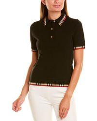 Burberry Check Trim Wool-blend Polo Shirt - Black