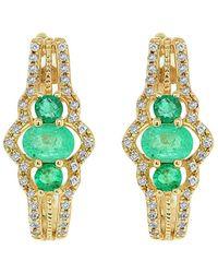 Diana M. Jewels . Fine Jewellery 14k 0.61 Ct. Tw. Diamond & Emerald Earrings - Green