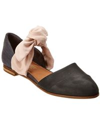 TOMS - Black Leather Rose Bow Women's Jutti D'orsay - Lyst