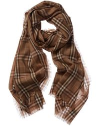 Burberry Embroidered Vintage Check Cashmere Scarf - Brown
