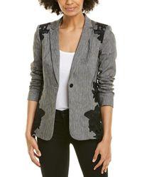 Elie Tahari Lace Linen-blend Blazer - Gray