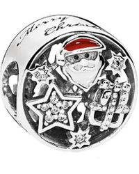 PANDORA Silver Cz & Mixed Enamel Christmas Joy Charm - Metallic