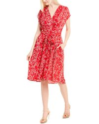 Max Studio Printed A-line Dress - Red