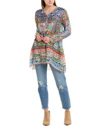 Johnny Was Frame Silk Tunic - Blue