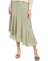 Vince Asymmetric Midi Skirt - Green