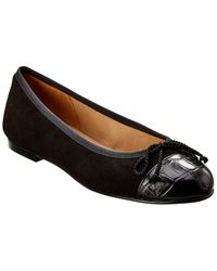 French Sole Rosalind Suede & Croc-embossed Flat - Black