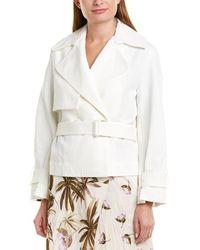 Vince Crop Belted Jacket - White